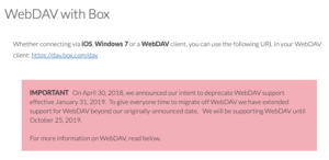 webdav box not supported